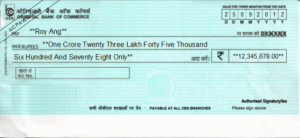 How to Fill Oriental Bank of Commerce (OBC) Cheque