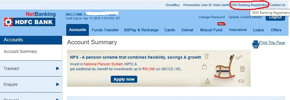 how to register mobile number in hdfc bank account