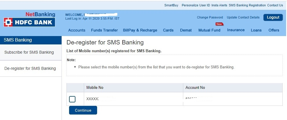 how to change the contact number in hdfc bank online