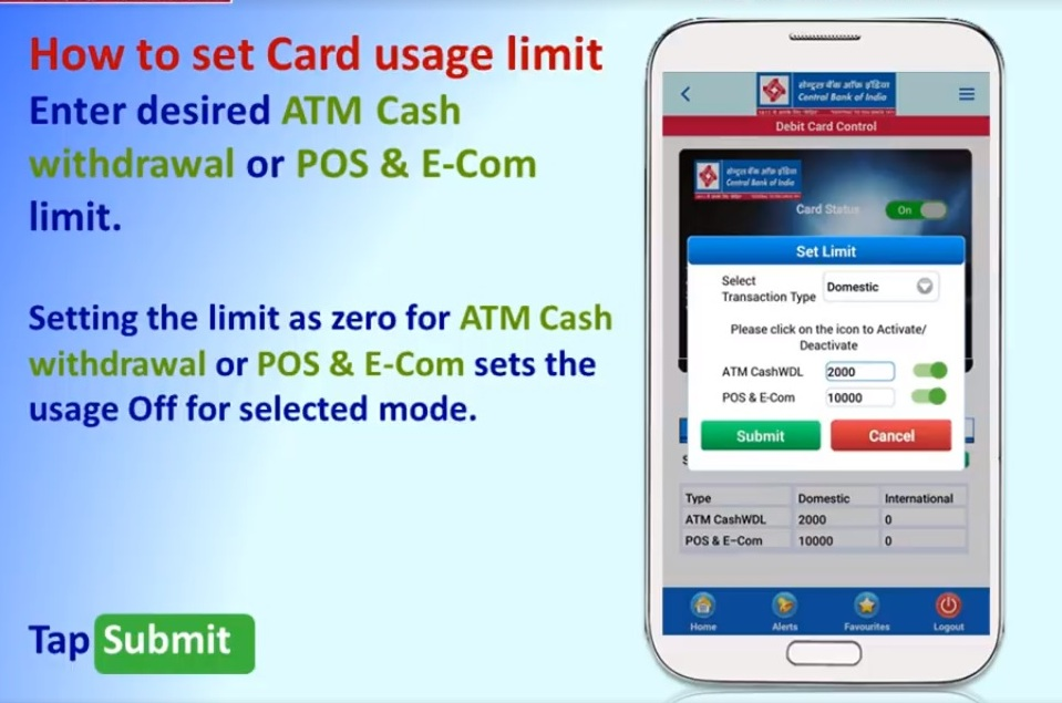 """Enter desired ATM Cash withdrawal or POS & E-Com limit. Tap """"Submit"""""""