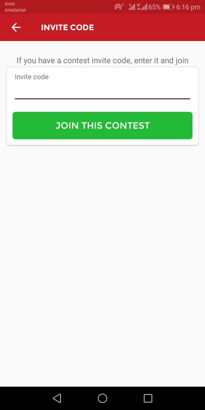 "Enter the invite code and click on ""Join This Contest"""