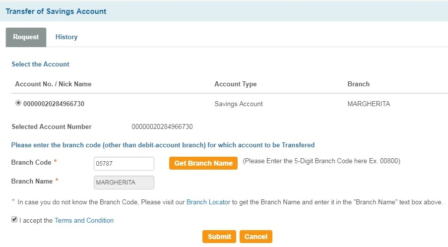 sbi online account checking branch