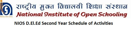 NIOS D.El.Ed Second Year Schedule of Activities