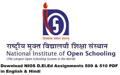 Download NIOS D.El.Ed Assignments 509 & 510 PDF in English & Hindi