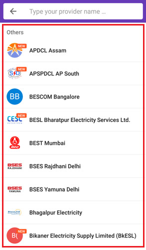 Select your electricity service provider
