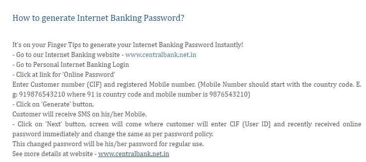 Generate Central Bank of India Internet Banking Password